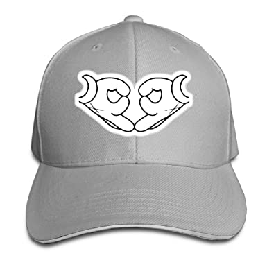Unisex Heart Love Drawing Mouse Hands Hip Hop Adjustable Sandwich Cap Ash