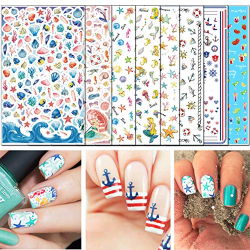 TailaiMei 3D Summer Nail Decals Stickers, 1000+ Pcs Self-adhesive Tips DIY Nail Art Design Stencil (8 Large ()