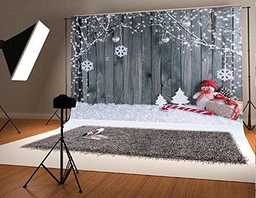 Kate 7x5ft Gery Wood Christmas Photography Backdrop Seamless Backdrop Snowflake Vintage Christmas Background Snowman Branches Backdrop for Party Booth Prop (Studio Christmas Photo Shoot)