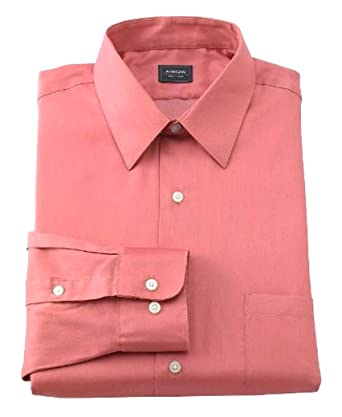 strong packing first look how to buy Arrow Mens Classic Fit Sateen Point Collar Dress Shirt Orange Coral