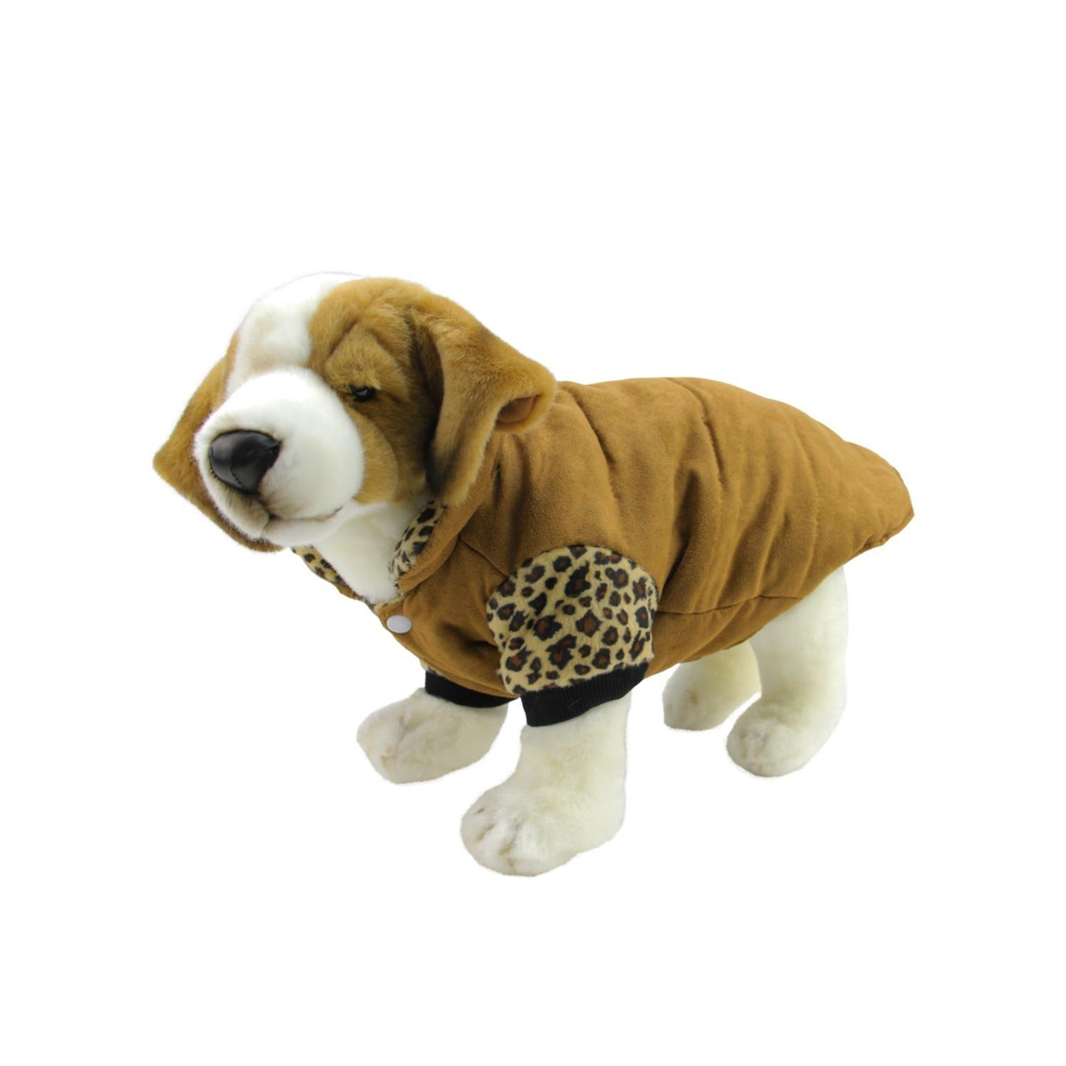 Speedy Pet Mocha Brown and Leopard Design Paw Print Fashion Fleece Lined Reversible Dog Jacket - Medium