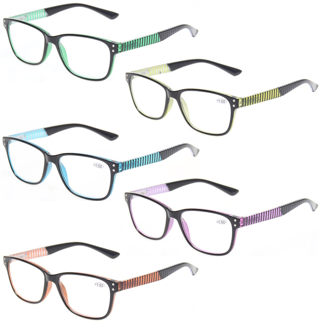 Kerecsen 5 Pack Fashion Reading Glasses Spring Hinge With Stylish Pattern Readers 0.5)