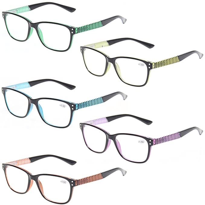 19821a134e73 READING GLASSES 5 Pack Fashion Unisex Readers Spring Hinge With Stylish  Pattern Designed Glasses (5