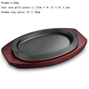 Sartén de hierro fundido ovalado Pizza Sartén y base de ...