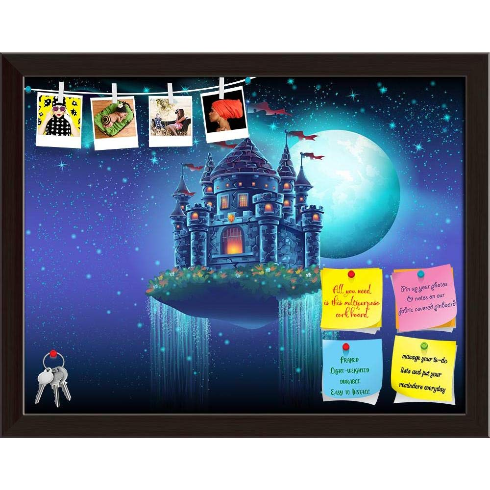 ArtzFolio Flying Castle Space With Waterfalls Printed Bulletin Board Notice Pin Board cum Dark Brown Framed Painting 15.4 x 12inch