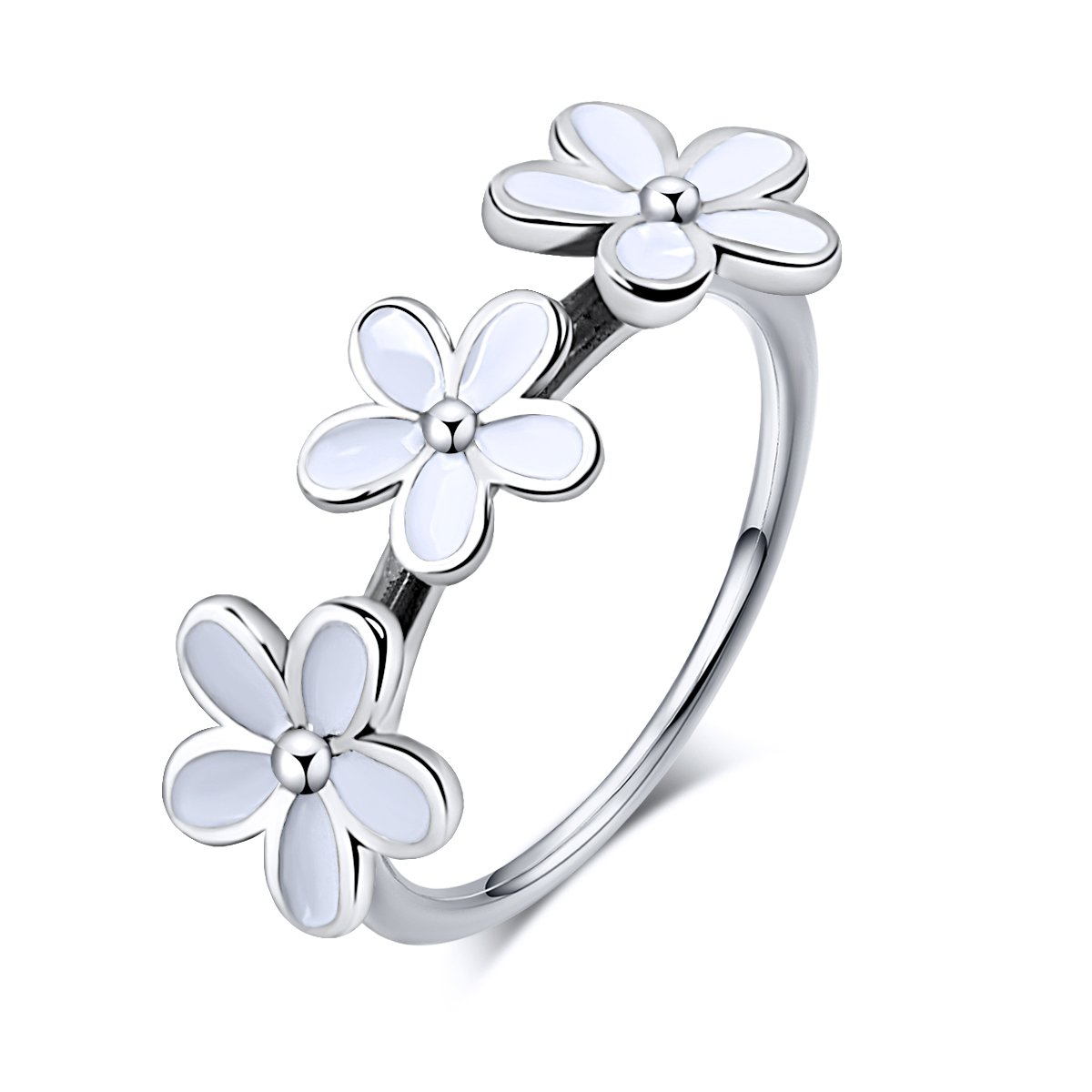 Twenty Plus White Dazzling Daisies Stackable Finger Ring With Clear CZ For Gifts
