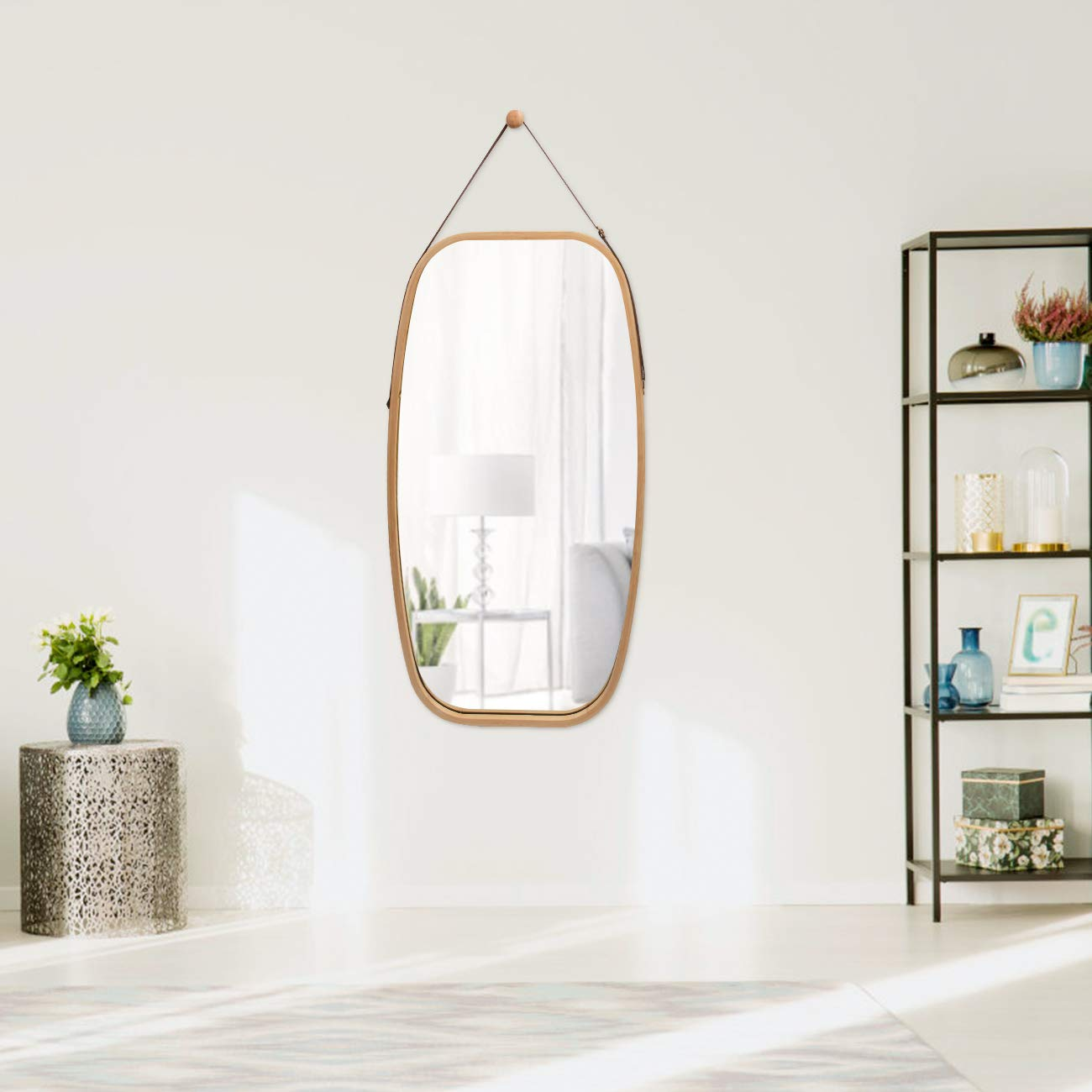 Full Length Wall Mirror Hanging in Bathroom Bedroom – Solid Bamboo Frame Adjustable Leather Strap, Makeup Dressing Home Decor Bamboo, 29L 17W Inch
