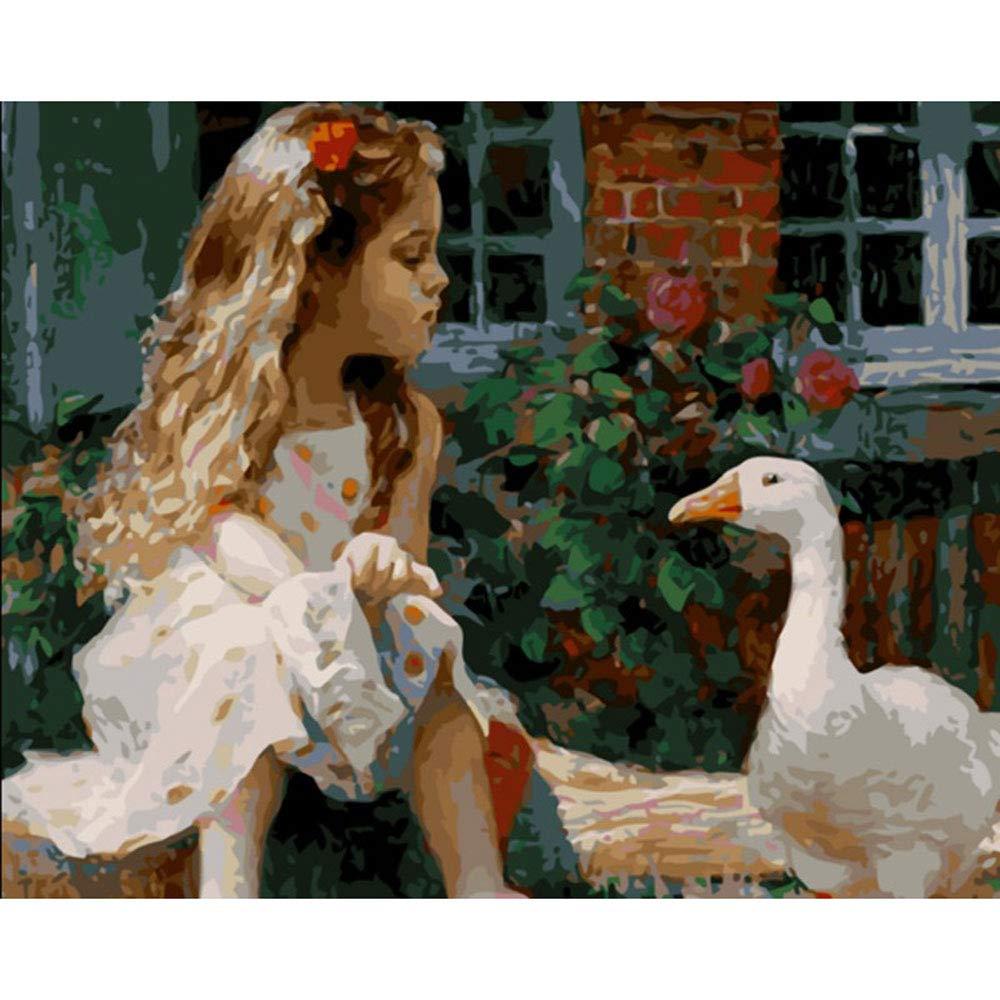 GX Bricolaje Pintura al óleo Adultos niños Principiantes, niña y Animal decoración de la Pared del hogar 40x50cm (Pintura sin Marco)