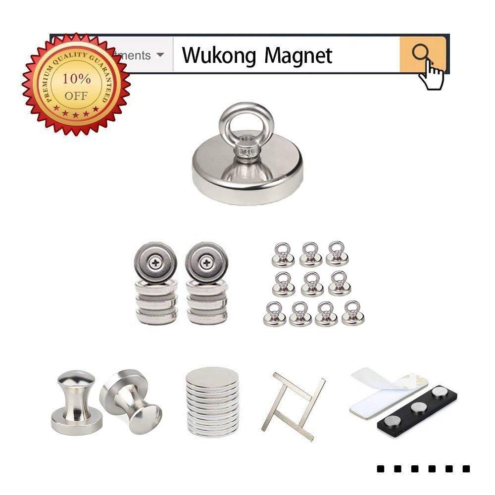 Durchmesser 32mm,Wukong Zugkraft 30kg Super Starker Neodymium Magnet Haken 2PCS Stark Neodym /Ösenmagnet