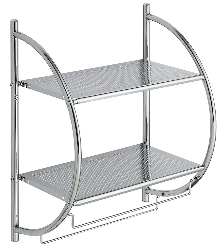 K&A Company Chrome Bathroom Shelf with Towel Bars, 21.5'' x 10'' x 5.5 lbs