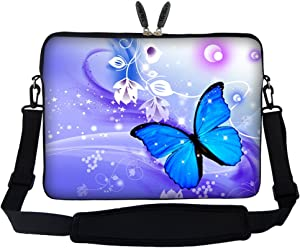 Meffort Inc 17 17.3 inch Neoprene Laptop Sleeve Bag Carrying Case with Hidden Handle and Adjustable Shoulder Strap - Purple Blue Butterfly