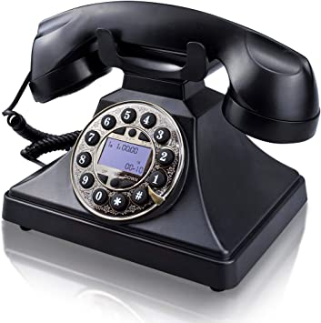 Amazon Com Corded Retro Landline Phone For Home Irisvo Vintage Classic Desk Telephone With Lcd Screen Display And Redial Speaker Push Button Dialing With Rotary Design Black Electronics