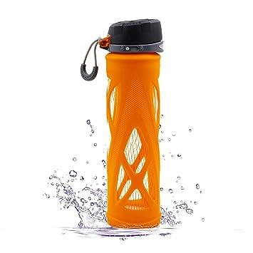 Botella de vidrio deportiva para agua, SZPLUS 650ml, botella de agua de
