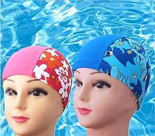 HLI Bambini Stampano Il Cappuccio Comodo Di Nuotata Del Fumetto Della Ragazza Del Berretto Da Nuoto , Blue,blue Swimming cap