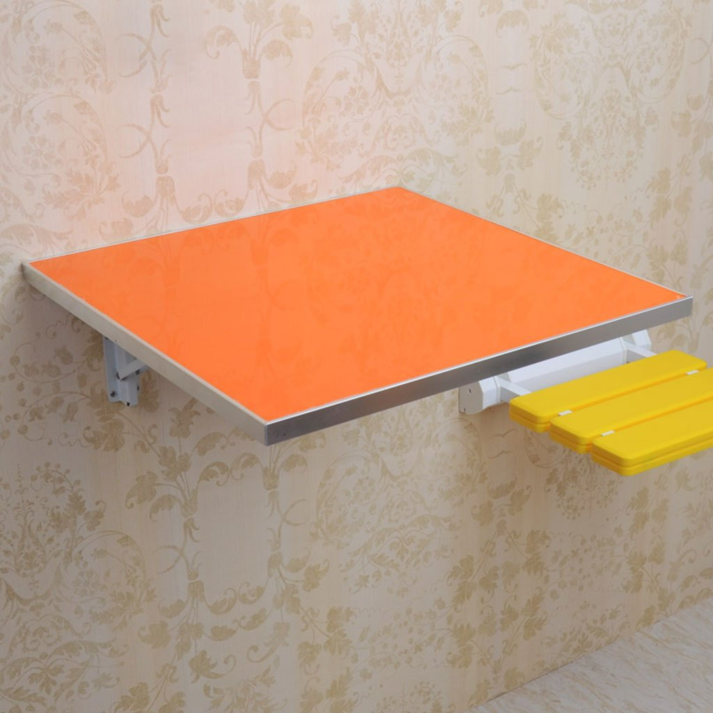 LTJTVFXQ-shelf Aluminum Alloy Edged Square Folding Dining Table Writing Desk European Wall Table Folding Table Wall Table Orange 4545cm/5050cm (Size : 4545cm)