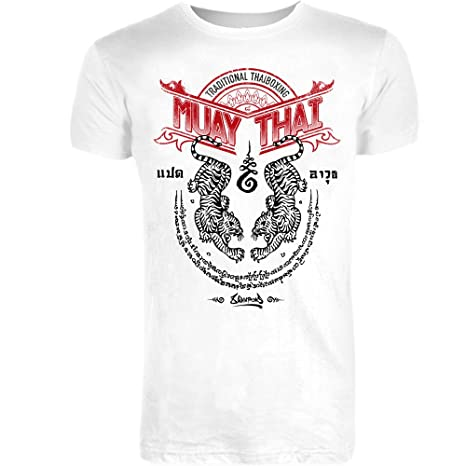 8 WEAPONS Muay Thai T-Shirt, Sak Yant Tigers, weiß, XXL