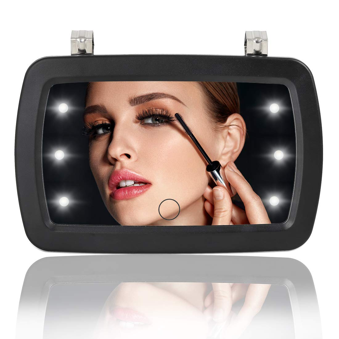 X AUTOHAUX Car Sun Visor Mirror LED White Lights Makeup with Touch Screen