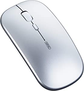 Bluetooth Mouse, Inphic Rechargeable Wireless Mouse Tri-Mode (Bluetooth 5.0/3.0+2.4ghz) with Ultra-Slim and Silent Click, 1600dpi 3 Adjustable Optical Portable Mouse for Pc MacBook Ipad Os Silver