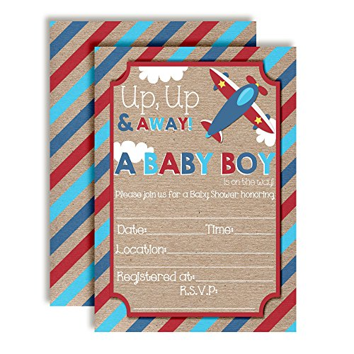Up & Away Airplane Baby Shower Invitations for Boys, 20 5