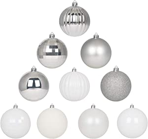 GameXcel 10Pcs Christmas Balls Ornaments for Xmas Tree - Shatterproof Christmas Tree Decorations Large Hanging Ball White & Silver3.2 x 10 Pack
