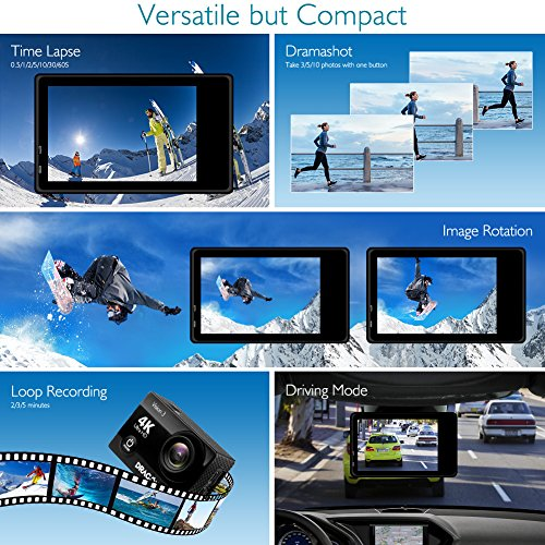 Dragon Touch Action Camera Underwater Wide Angle Cam with Remote 2 Batteries Kit