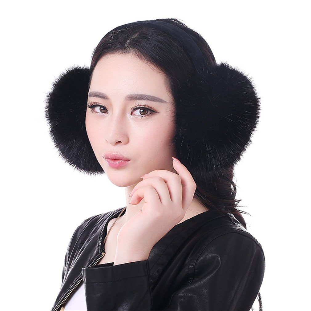WenMei Women Headband Earmuffs Winter Warm Folding Fox Fur Earmuffs (Black)