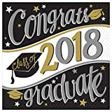 TLP Party Black, Gold, White Congrats Class of 2018 Graduate Party Luncheon Napkins