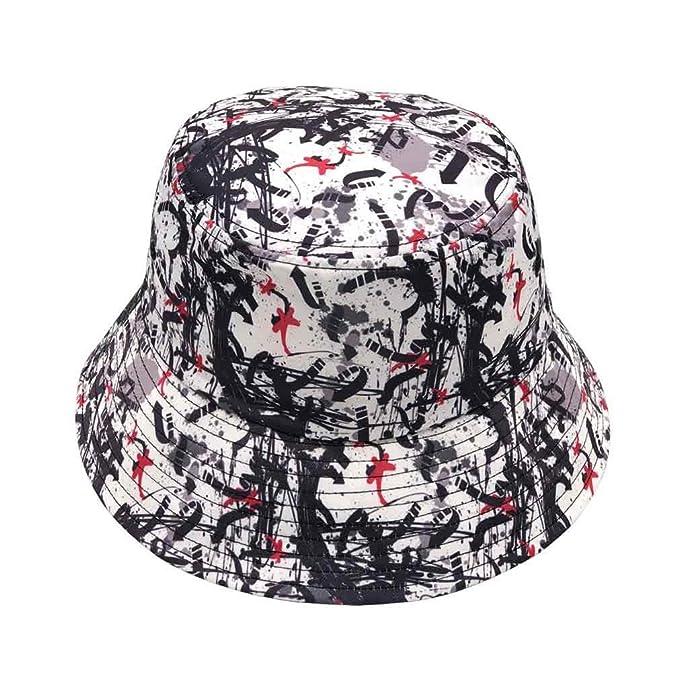 b37963ec87c7f5 Quanhaigou Unisex Bucket Hat Orignal Summer Boonie Cap Graffiti Fisherman  Reversible Packable Hats (Black White