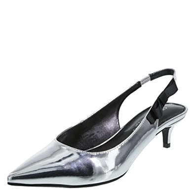 592d54dd4174 Christian Siriano for Payless Women s Sage Kitten Heel Silver Size  5.5 Wide