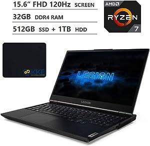 "Lenovo Legion 5 Gaming Laptop, 15.6"" Full HD 120Hz Screen, AMD Ryzen 7 4800H Processor, NVIDIA GeForce GTX 1650 Graphics, Backlit Keyboard, Windows 10, KKE Mousepad (32GB RAM   512GB SSD + 1TB HDD)"