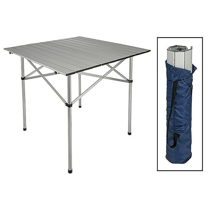 Aluminio camping mesa plegable Roll mesa Jardín Mesa de camping ...