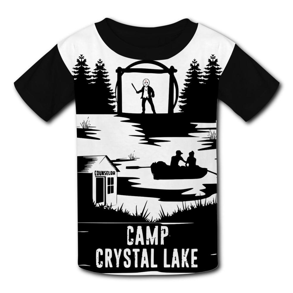 MY-Fish Black Raglan T-Shirts Short Sleeve Camp Crystal Lake Sports Sweat Tee for Kids Boys Girls