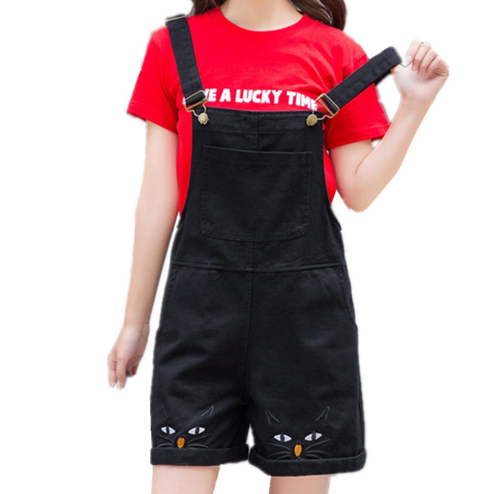 Girls' Overall Shorts for Summer Kawaii Cat Embroidery Adjustable Spaghetti Strap Casual Shortalls (Black, S)