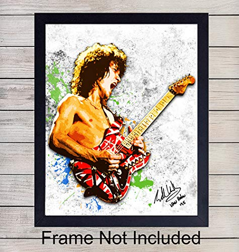 Eddie Van Halen Wall Art Print - Great Gift for Music and Rock n Roll Fans - Cool Steampunk Home Decor - Ready to Frame (8x10) Vintage Photo ()