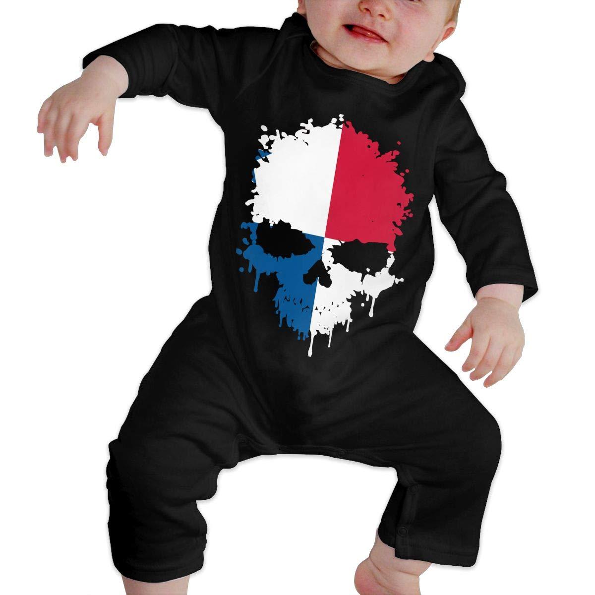 U99oi-9 Long Sleeve Cotton Rompers for Baby Girls Boys Cute Panama Skull Sleepwear