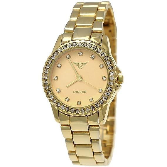 NY LONDON Designer brillantes mujer reloj, incluye caja para relojes mujer reloj de pulsera,