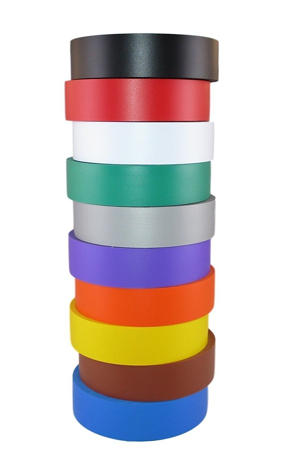 TradeGear Electrical Tape ASSORTED MATTE Rainbow Colors - 10 Pk Waterproof, Flame Retardant, Strong Rubber Based Adhesive, UL Listed - Rated for Max. 600V and 80oC Use -Measures 60' x 3/4'' x 0.07'' by TradeGear