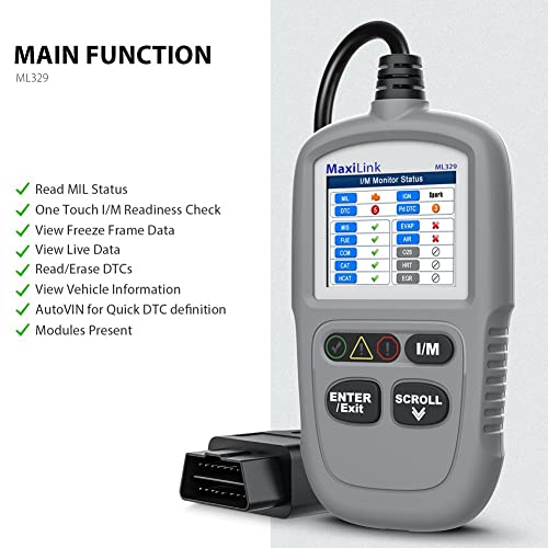 Autel MaxiLink ML329 diagnostic tool supports check engine, resets monitors and clears codes.