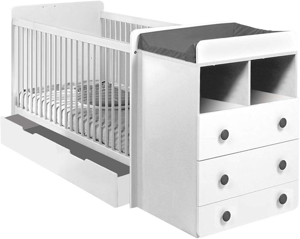 Sonoma//Wei/ß Babybett Gitterbett Kinderbett 120x60 mit Matratze und Schublade NEU