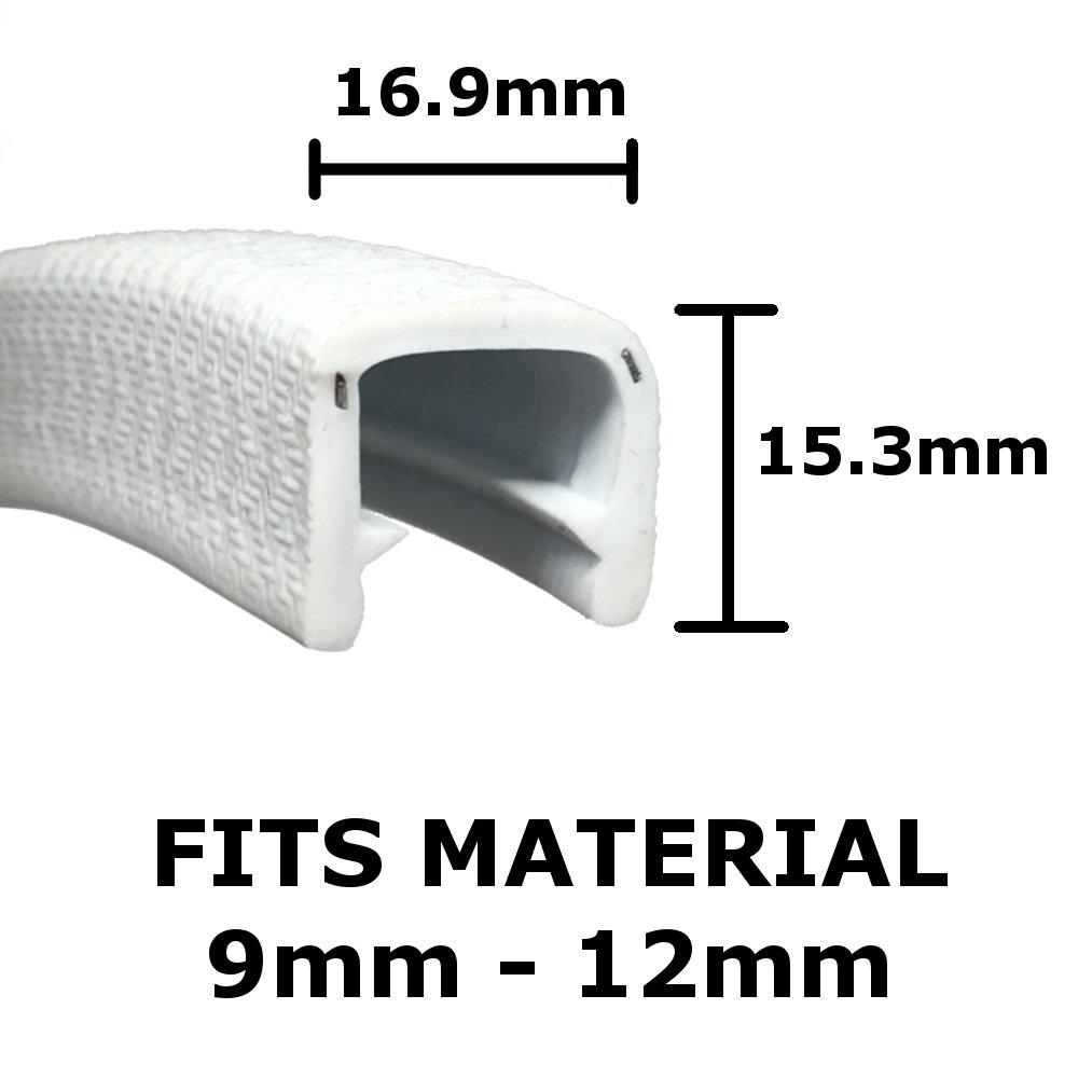 Jumbo White Protective Edge Trim 16.9mm x 15.3 fits 9mm - 12mm The Metal House