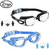 Eocusun Gafas de Natación, 2 Pack Swimming Goggles Anti Fog y Protección UV, Vista Clara Gafas para Nadar+Tapones para Los Oídos&Clip de Nariz para Adulto Hombres Mujeres Júnior