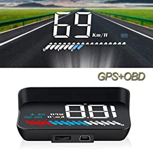 Car Dual Mode Head-Up Display, iKiKin M7 OBD2 Car GPS HUD, Auto Speedometer HUD for Car with Warning Alarm by OBD2 & GPS, Windshield Projector Over-Head Display, Compatible with All Cars and Trucks
