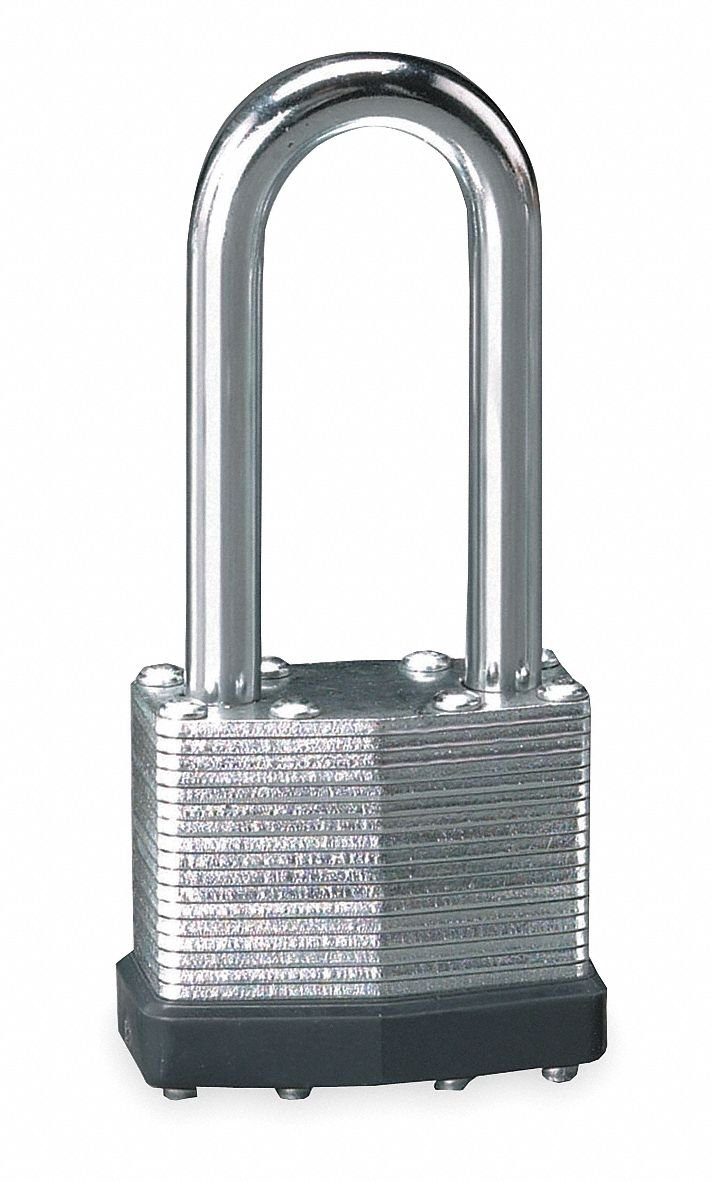 Different-Keyed Padlock, Extended Shackle Type, 2'' Shackle Height, Silver- Pack of 5