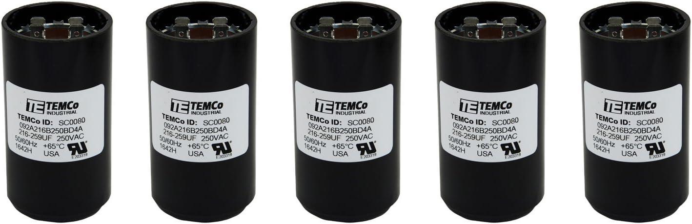 Lot-2 TEMCo 216-259 uf//MFD 110-125 VAC volts Round Start Capacitor 50//60 Hz