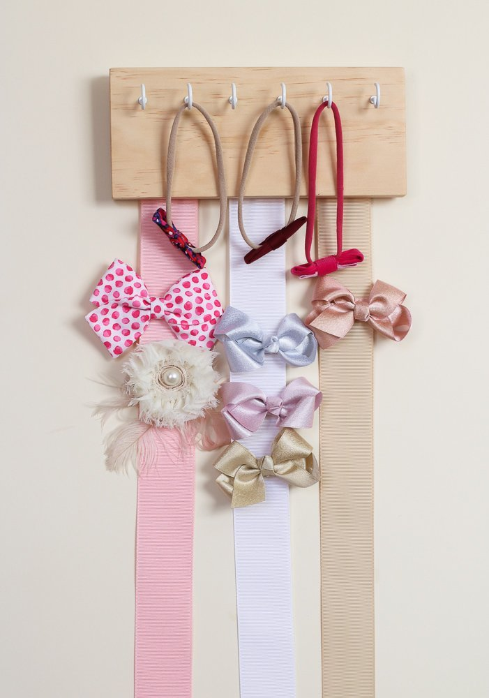 Natural Wood Ribbon Bow Organizer & Headband Holder / Poplar Plaque Hooks / Organizer Handmade / High Quality / Nursery Girls Room Decor / (natural pink white beige) by Wood Decor with Love