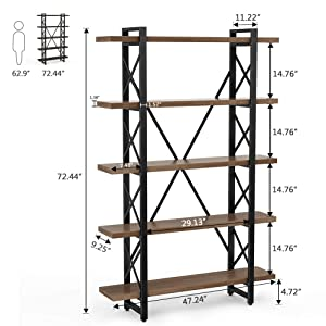 LITTLE TREE 5 Tier Bookcase, Solid Wood 5-Shelf Industrial Style Bookcases and Book Shelves, Metal and Wood Free Vintage Bookshelfs, Antique Nutmeg