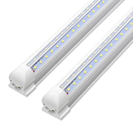 6ft Led Tube Light,Double Side V Shape Integrated T8 LED Shop Light  Fixtures,6000K 42w 4200 Lumens Hight Output Led Bulbs, Clear Lens AC85-265V