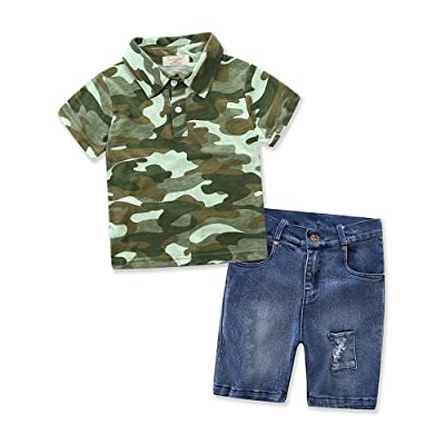 Boys Cotton Short Sleeve Polo Sweater Jeans Cowboy Pants Kids Baby Clothes Set (tag:4T, Green): Clothing