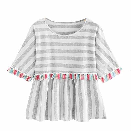 cc76665219 Women T-Shirt, vermers Fashion Tassels Striped Tee Printing Short Sleeve  Tops