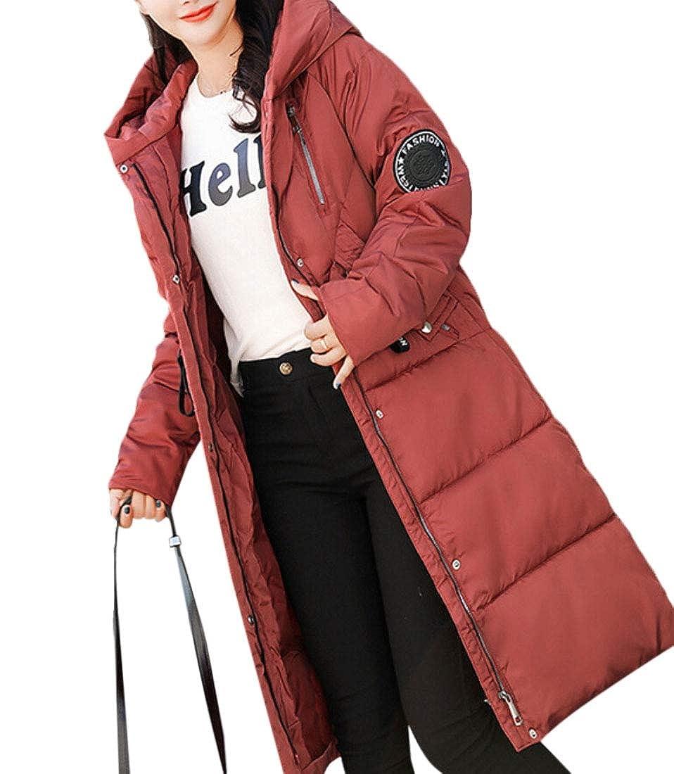 Qiangjinjiu Women's Long Overcoat Winter Thicken Warm Hood Puffer Down Jacket